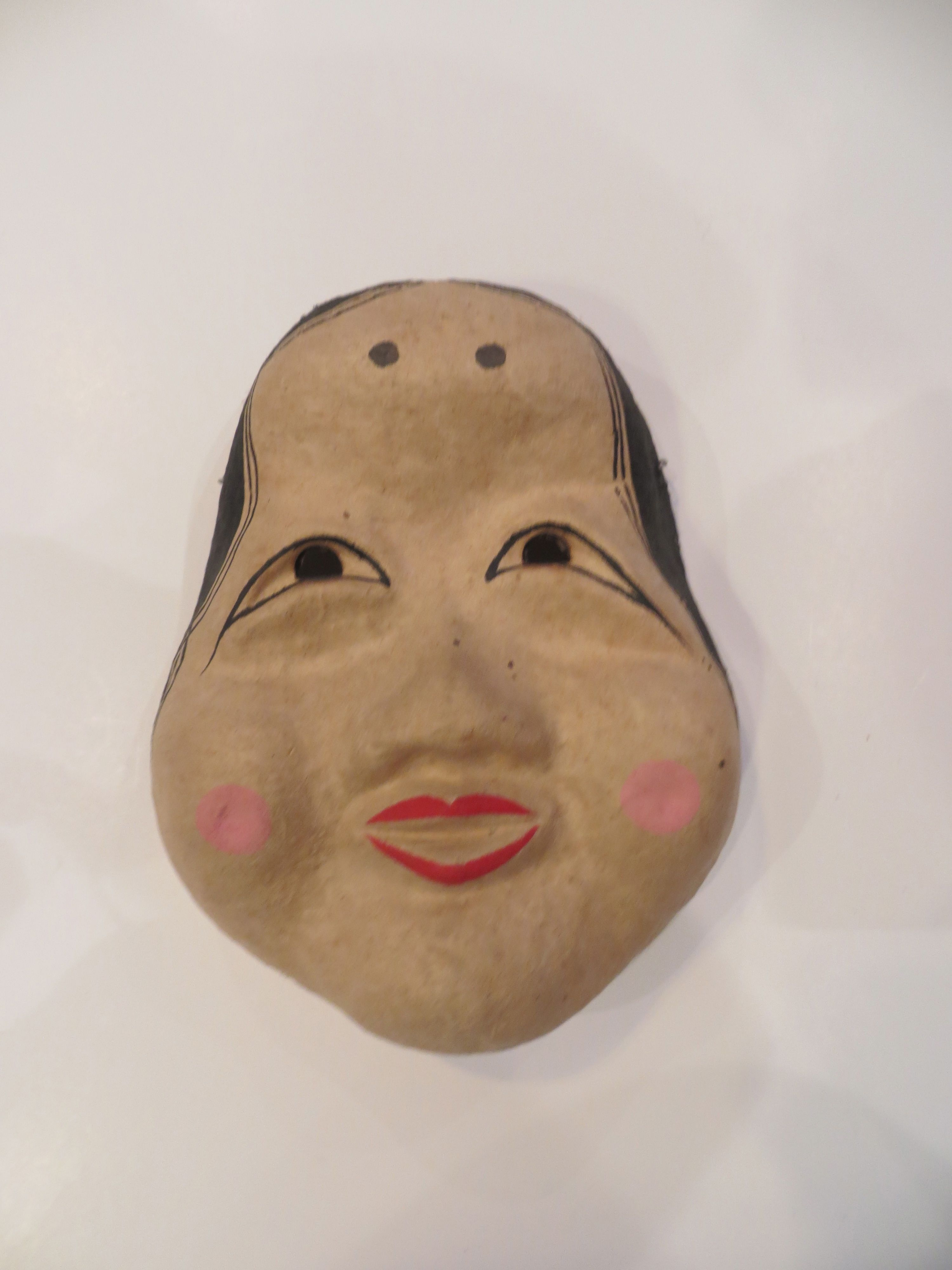 Ona Woman Noh Folk Mask Polychrome Papier Mache Collected Tokyo Japan 1989
