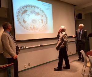 Dr. Timothy Brook, Dr. Jan Walls, Dr. Paul Crowe puzzling out the characters on the Swatow-Ware bowl.